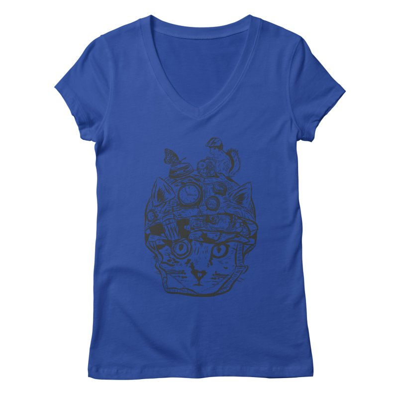 Make Your Own Time Machine Black and White Women's Regular V-Neck by Time Machine Supplies