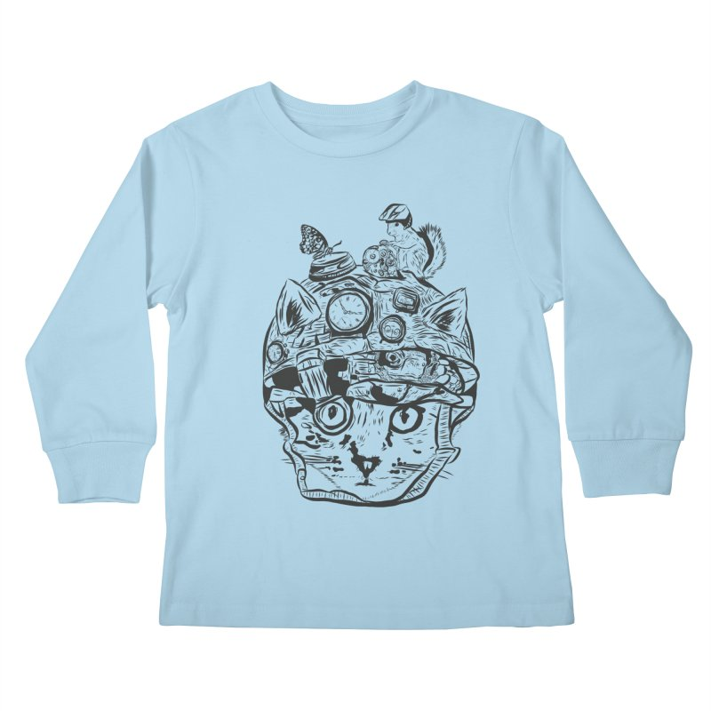 Make Your Own Time Machine Black and White Kids Longsleeve T-Shirt by Time Machine Supplies