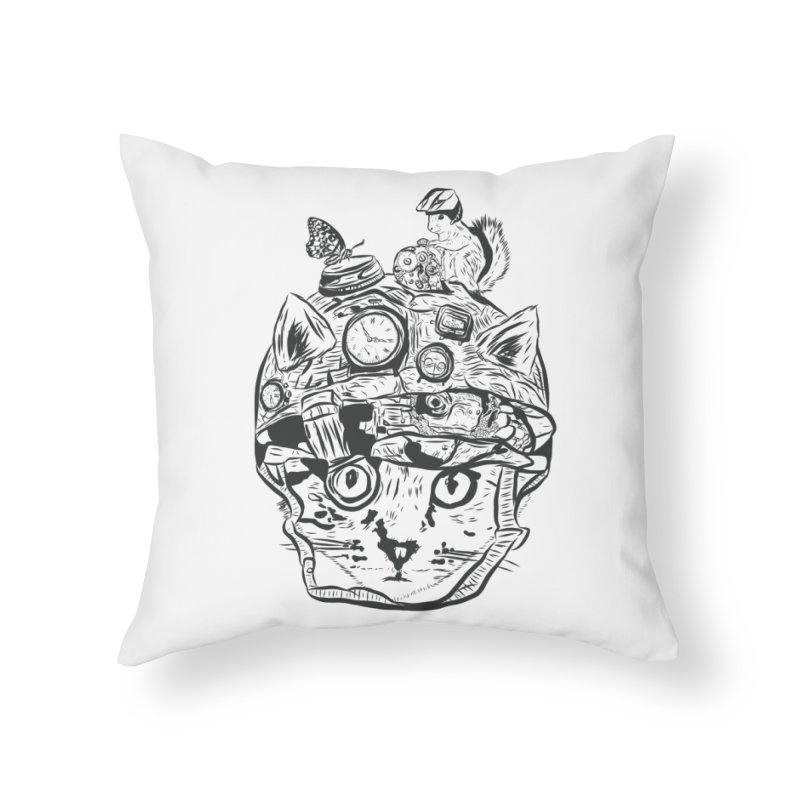 Make Your Own Time Machine Black and White Home Throw Pillow by Time Machine Supplies
