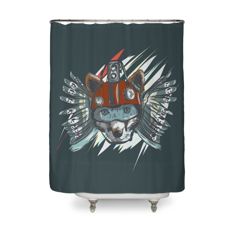 Wings of a Time Fox Home Shower Curtain by Time Machine Supplies