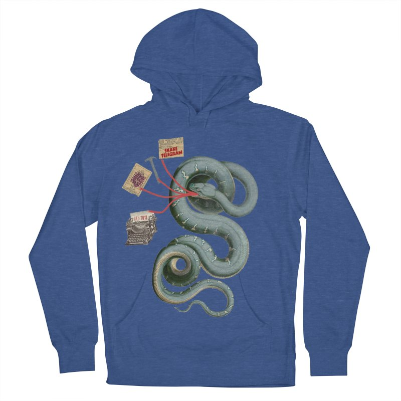 Snake Telegram Men's French Terry Pullover Hoody by Time Machine Supplies