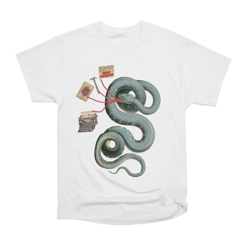 Snake Telegram Women's Heavyweight Unisex T-Shirt by Time Machine Supplies
