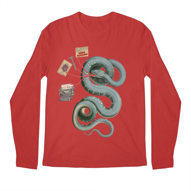 Snake Telegram Men's Regular Longsleeve T-Shirt by Time Machine Supplies