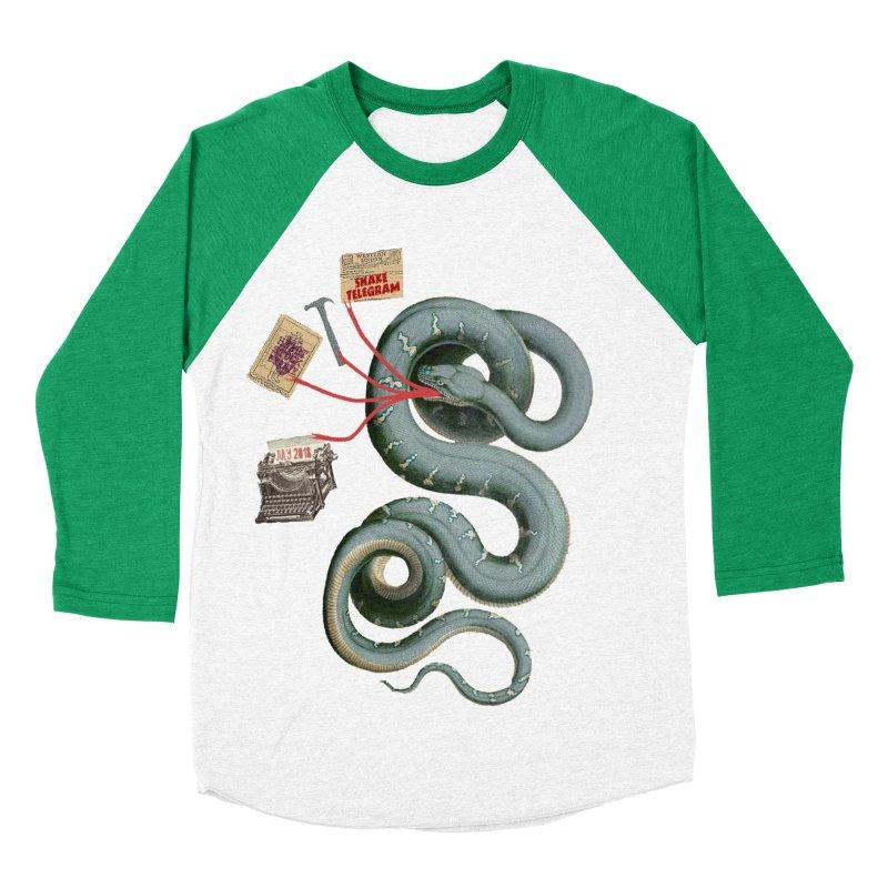 Snake Telegram Women's Baseball Triblend Longsleeve T-Shirt by Time Machine Supplies
