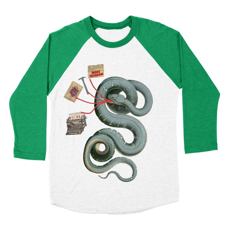 Snake Telegram Men's Baseball Triblend Longsleeve T-Shirt by Time Machine Supplies