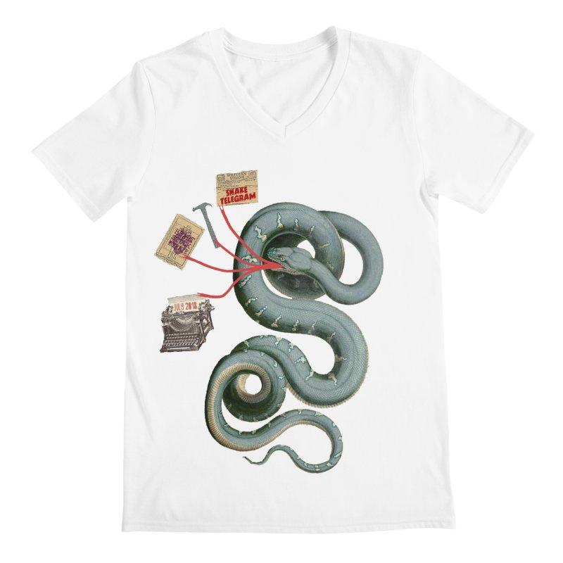 Snake Telegram Men's Regular V-Neck by Time Machine Supplies