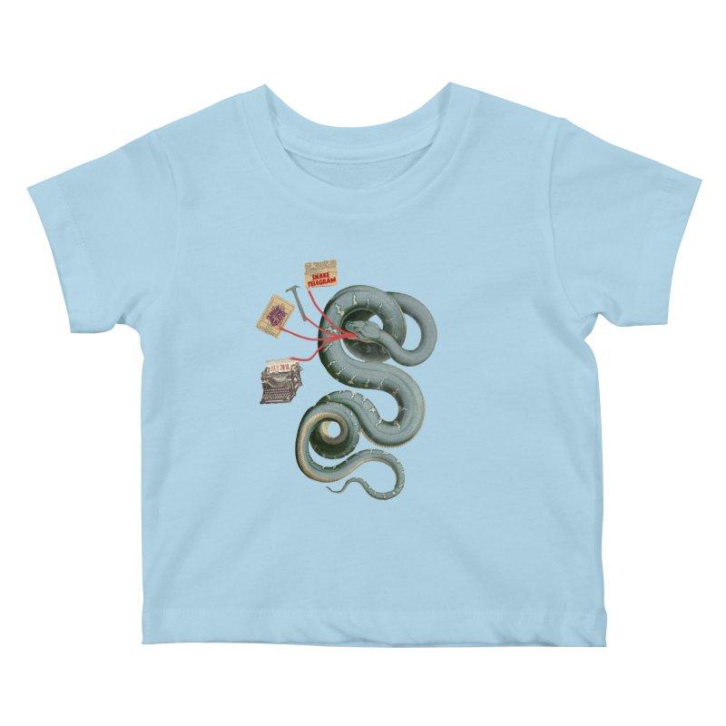 Snake Telegram Kids Baby T-Shirt by Time Machine Supplies