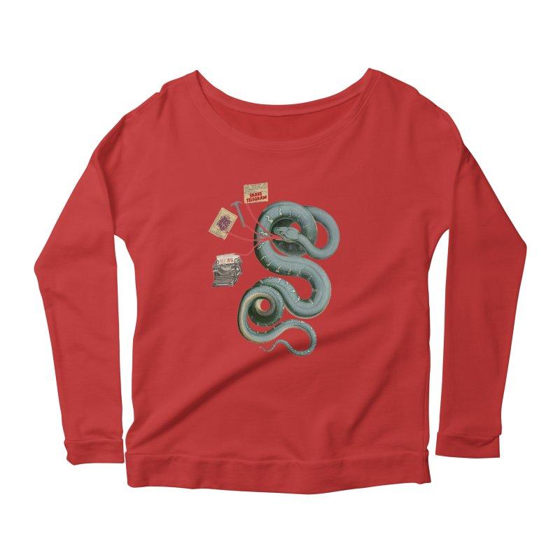 Snake Telegram Women's Scoop Neck Longsleeve T-Shirt by Time Machine Supplies