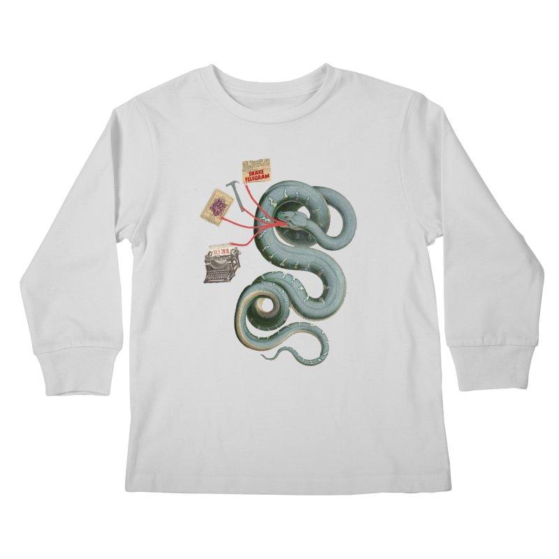 Snake Telegram Kids Longsleeve T-Shirt by Time Machine Supplies
