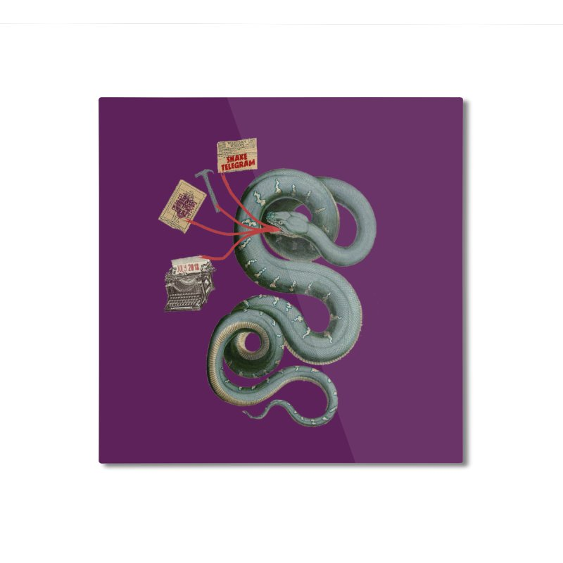 Snake Telegram Home Mounted Aluminum Print by Time Machine Supplies