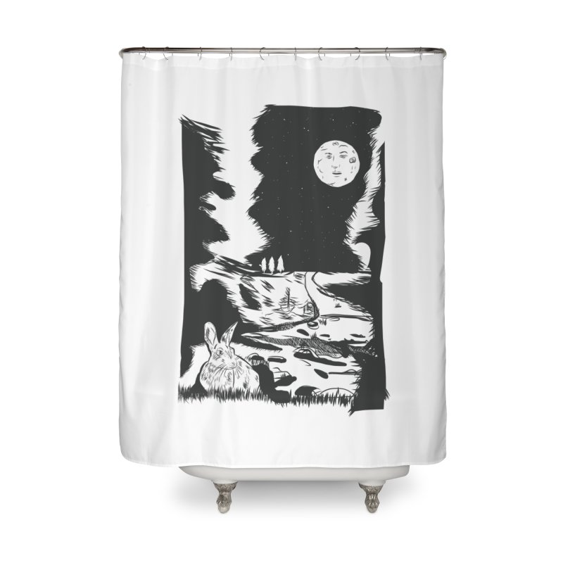 The Moon and the Rabbit Home Shower Curtain by Time Machine Supplies