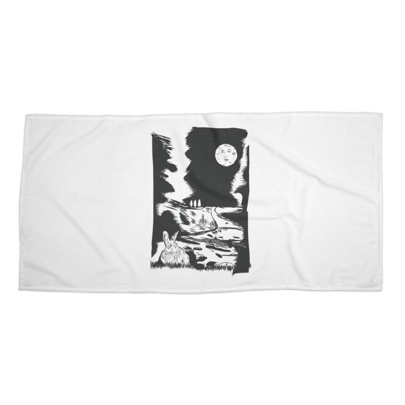 The Moon and the Rabbit Accessories Beach Towel by Time Machine Supplies