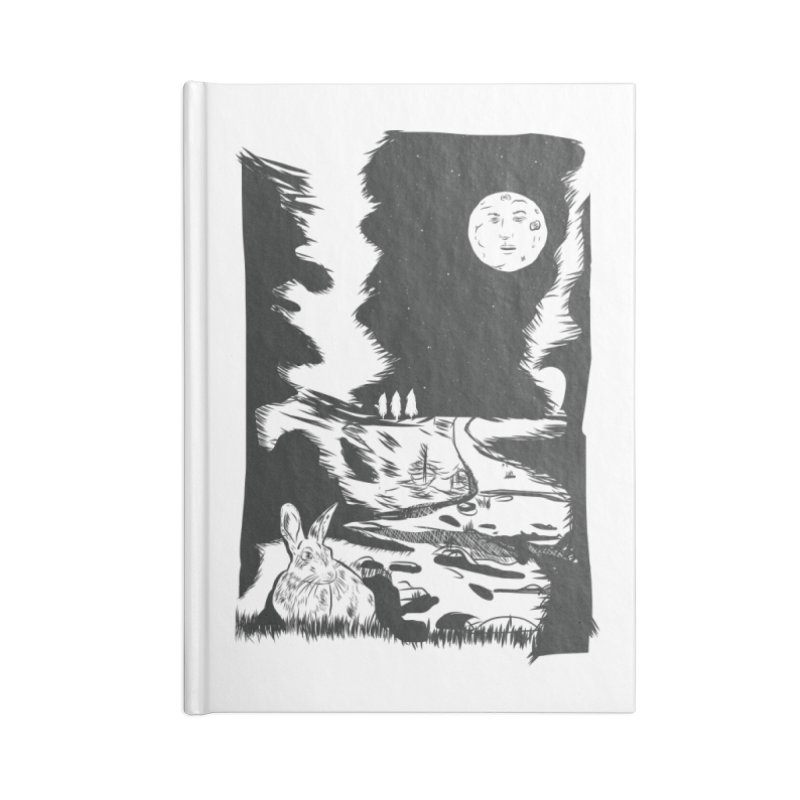 The Moon and the Rabbit Accessories Blank Journal Notebook by Time Machine Supplies