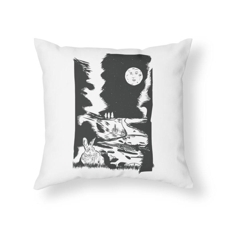 The Moon and the Rabbit Home Throw Pillow by Time Machine Supplies
