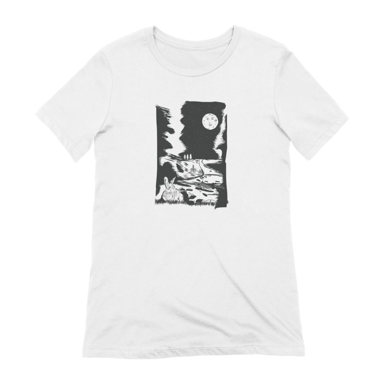 The Moon and the Rabbit Women's Extra Soft T-Shirt by Time Machine Supplies