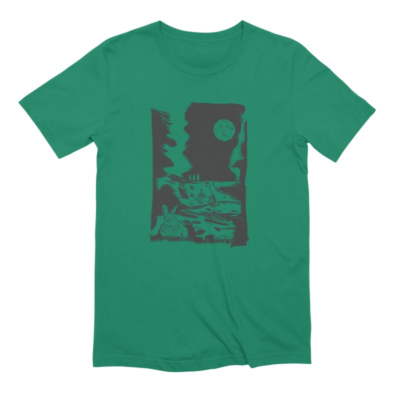 The Moon and the Rabbit Men's Extra Soft T-Shirt by Time Machine Supplies