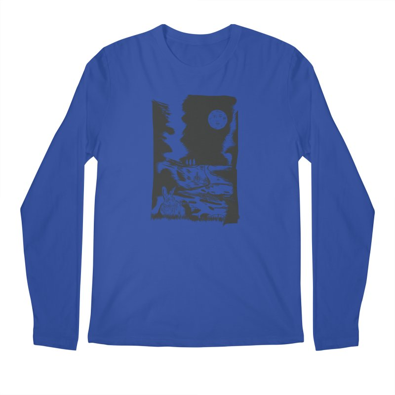 The Moon and the Rabbit Men's Regular Longsleeve T-Shirt by Time Machine Supplies