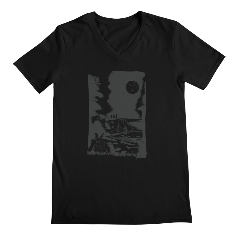 The Moon and the Rabbit Men's Regular V-Neck by Time Machine Supplies