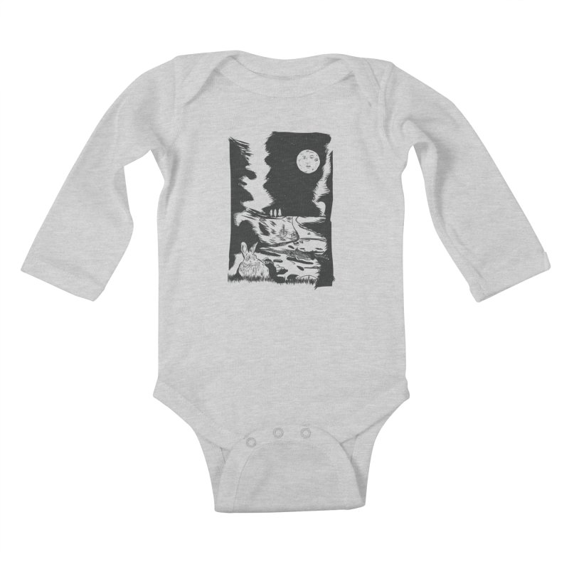 The Moon and the Rabbit Kids Baby Longsleeve Bodysuit by Time Machine Supplies