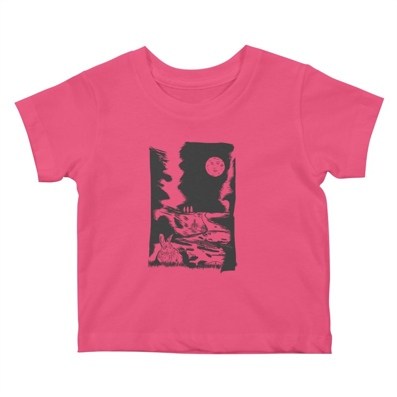 The Moon and the Rabbit Kids Baby T-Shirt by Time Machine Supplies