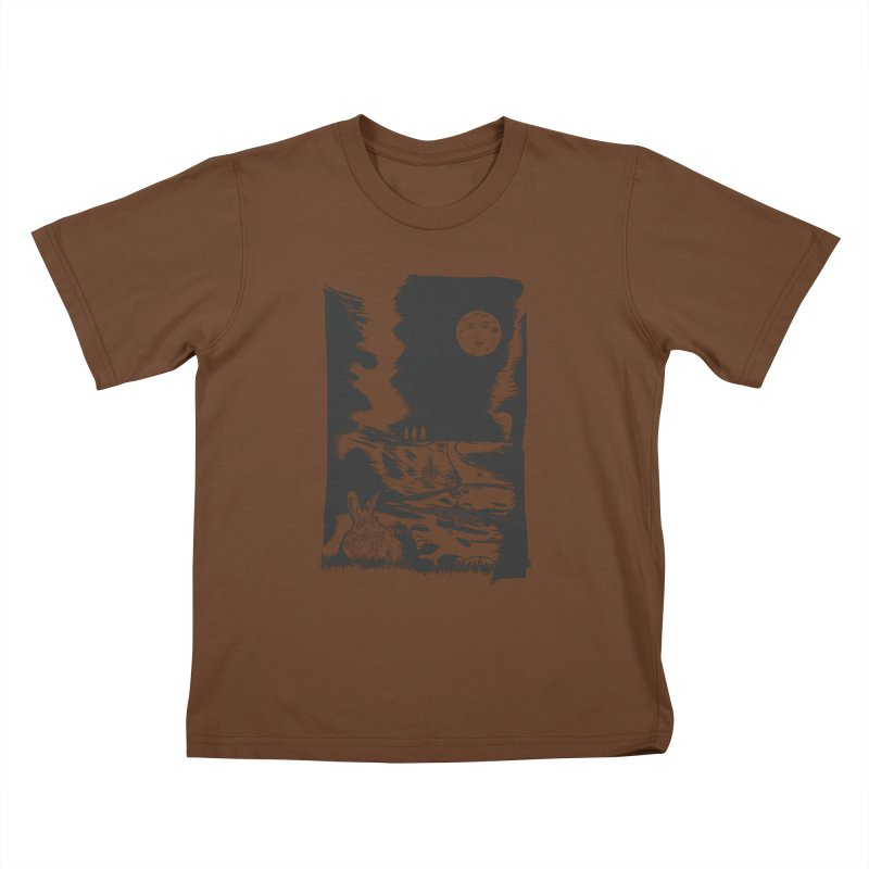 The Moon and the Rabbit Kids T-Shirt by Time Machine Supplies
