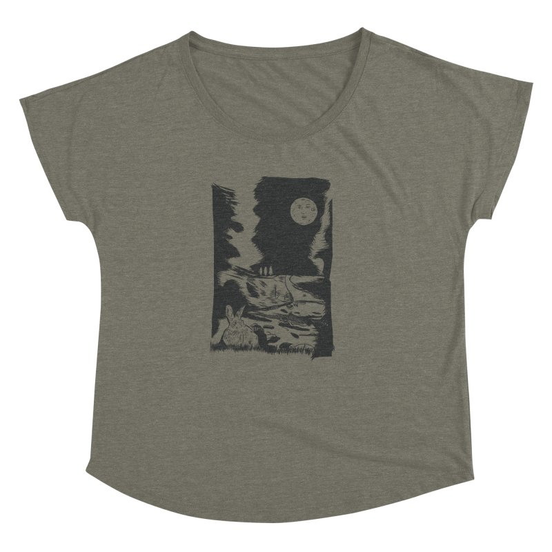 The Moon and the Rabbit Women's Dolman Scoop Neck by Time Machine Supplies