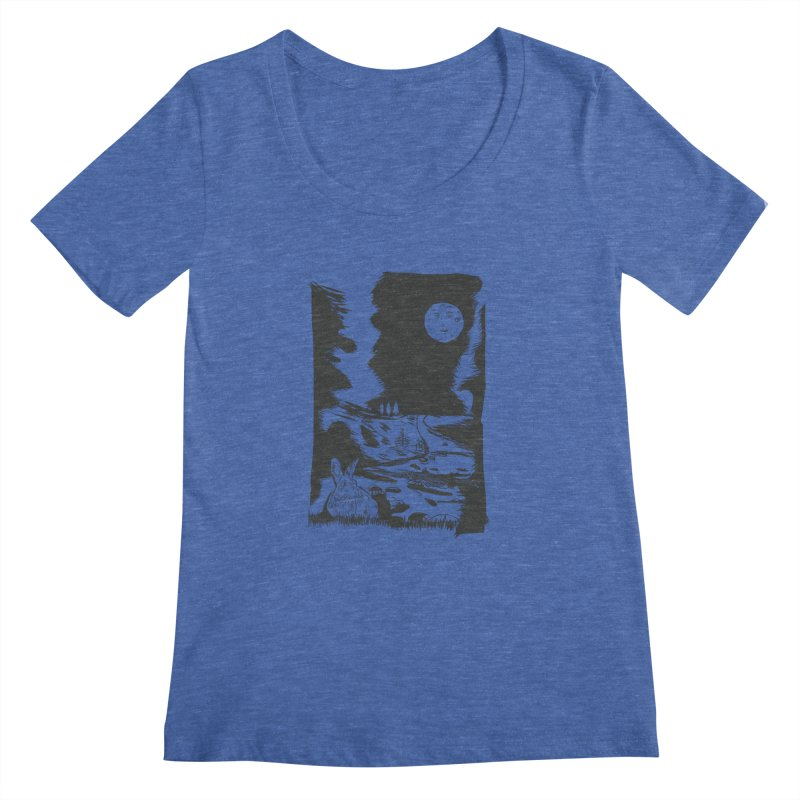 The Moon and the Rabbit Women's Regular Scoop Neck by Time Machine Supplies