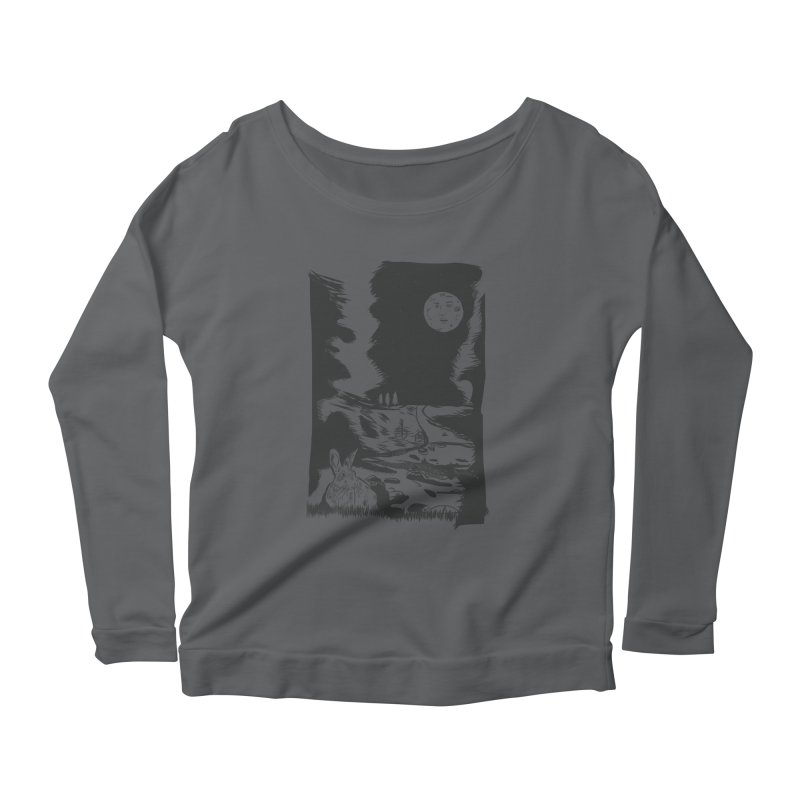 The Moon and the Rabbit Women's Scoop Neck Longsleeve T-Shirt by Time Machine Supplies