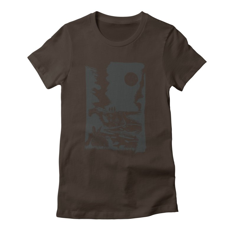 The Moon and the Rabbit Women's Fitted T-Shirt by Time Machine Supplies