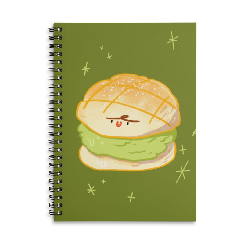 Meronpan matcha ice cream Accessories Lined Spiral Notebook by Tina Tamay
