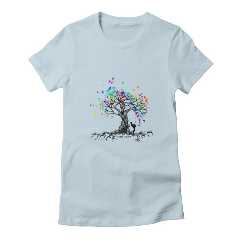 Music is Life Tree Women's T-Shirt by tinymystic's Artist Shop
