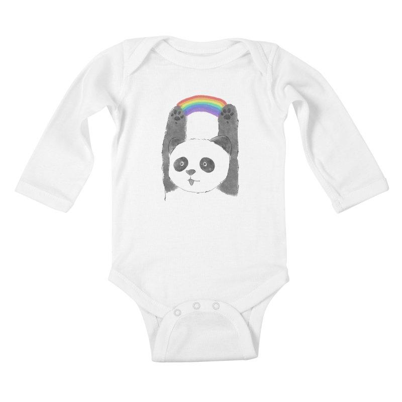 Panda Beam Kids Baby Longsleeve Bodysuit by tipsyeyes's Artist Shop