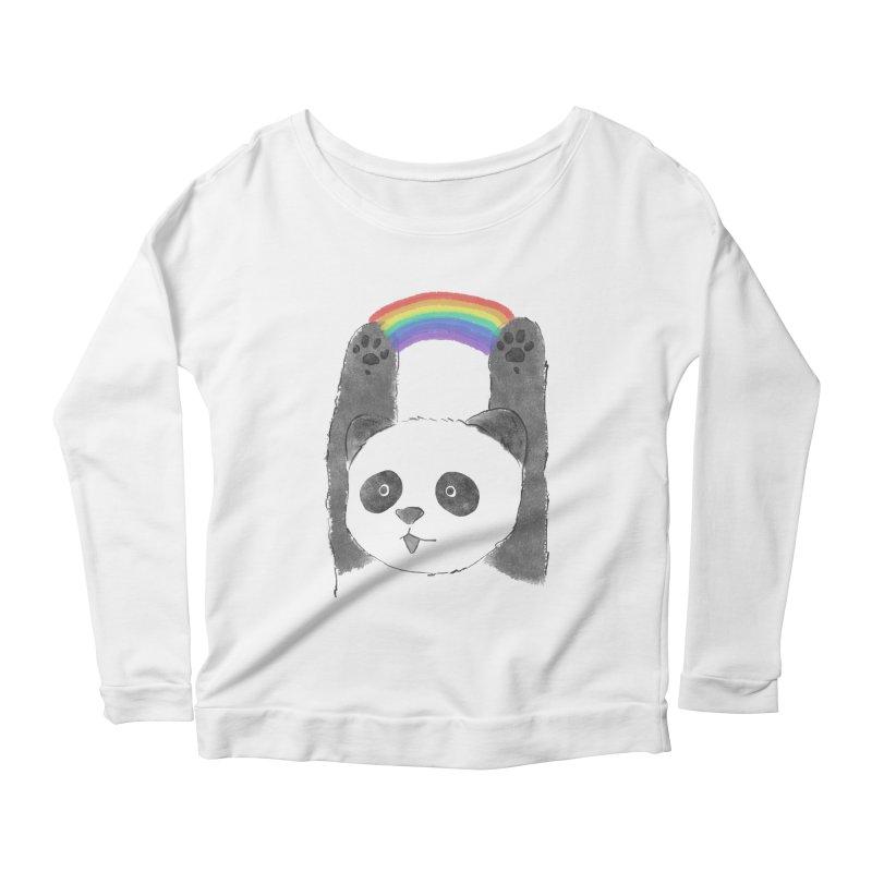 Panda Beam Women's Longsleeve Scoopneck  by tipsyeyes's Artist Shop