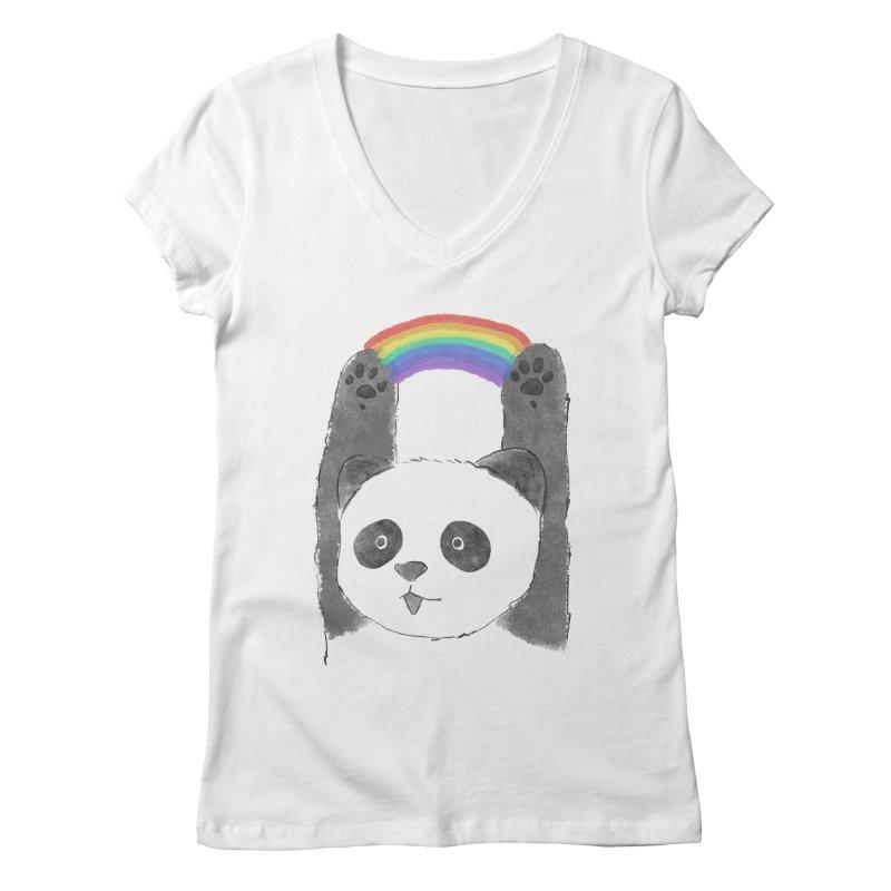 Panda Beam Women's V-Neck by tipsyeyes's Artist Shop