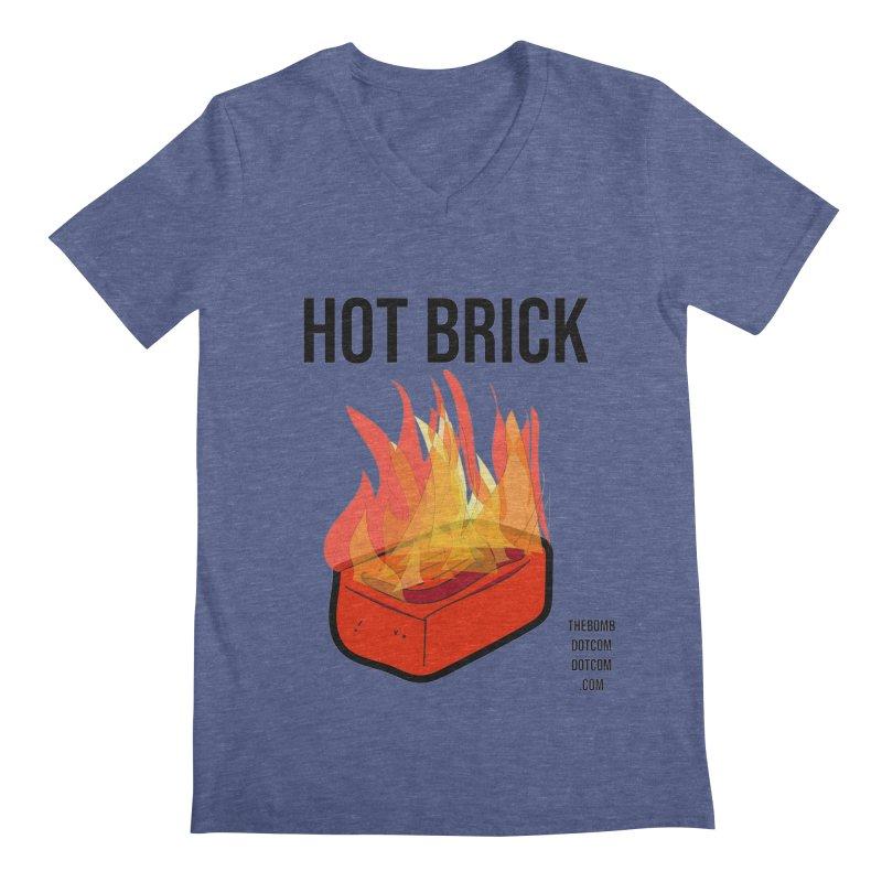 Hot Brick for Julio Zepeda Men's Regular V-Neck by thebombdotcomdotcom.com