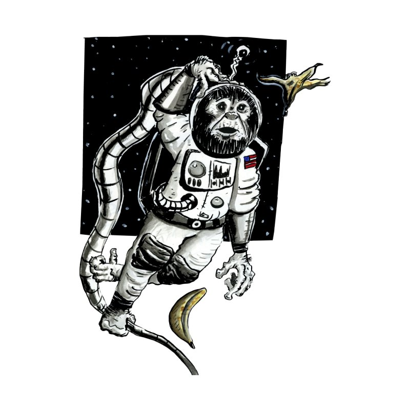 Space Chimp Men's Zip-Up Hoody by tjjudgeillustration's Artist Shop