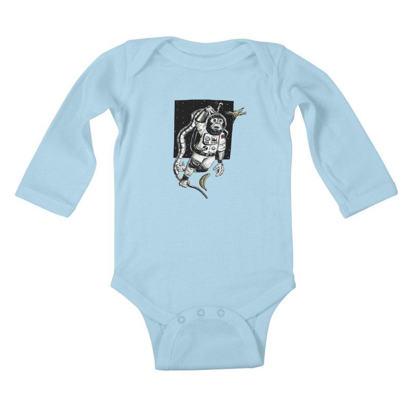 Space Chimp Kids Baby Longsleeve Bodysuit by tjjudgeillustration's Artist Shop
