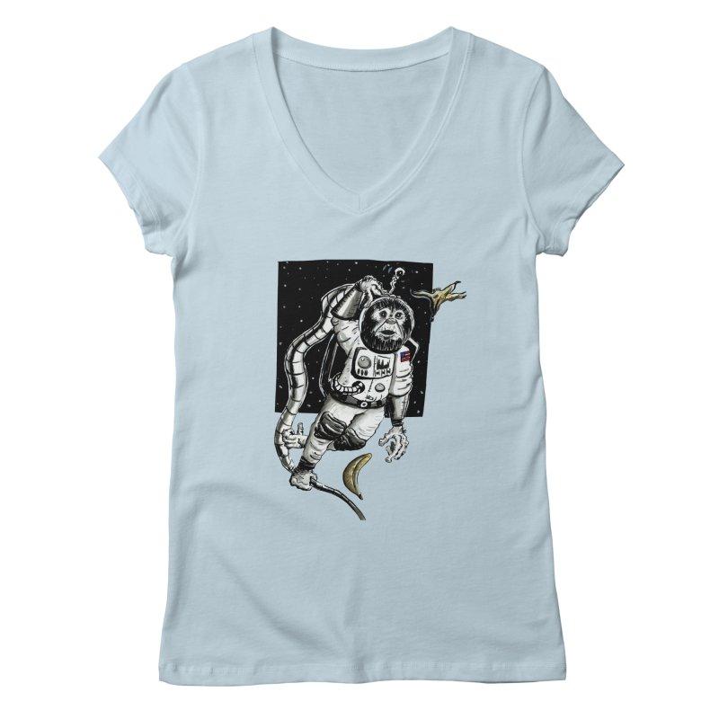 Space Chimp Women's V-Neck by tjjudgeillustration's Artist Shop