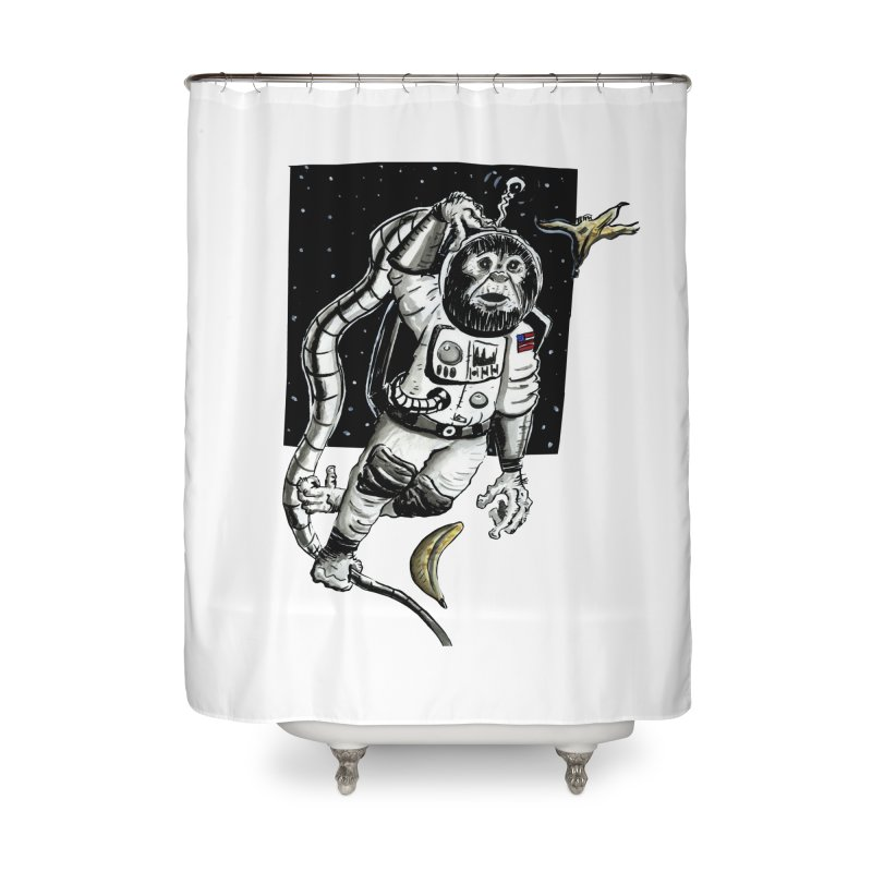 Space Chimp Home Shower Curtain by tjjudgeillustration's Artist Shop