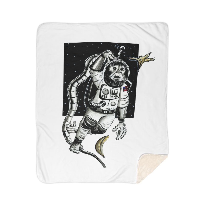Space Chimp Home Sherpa Blanket Blanket by tjjudgeillustration's Artist Shop