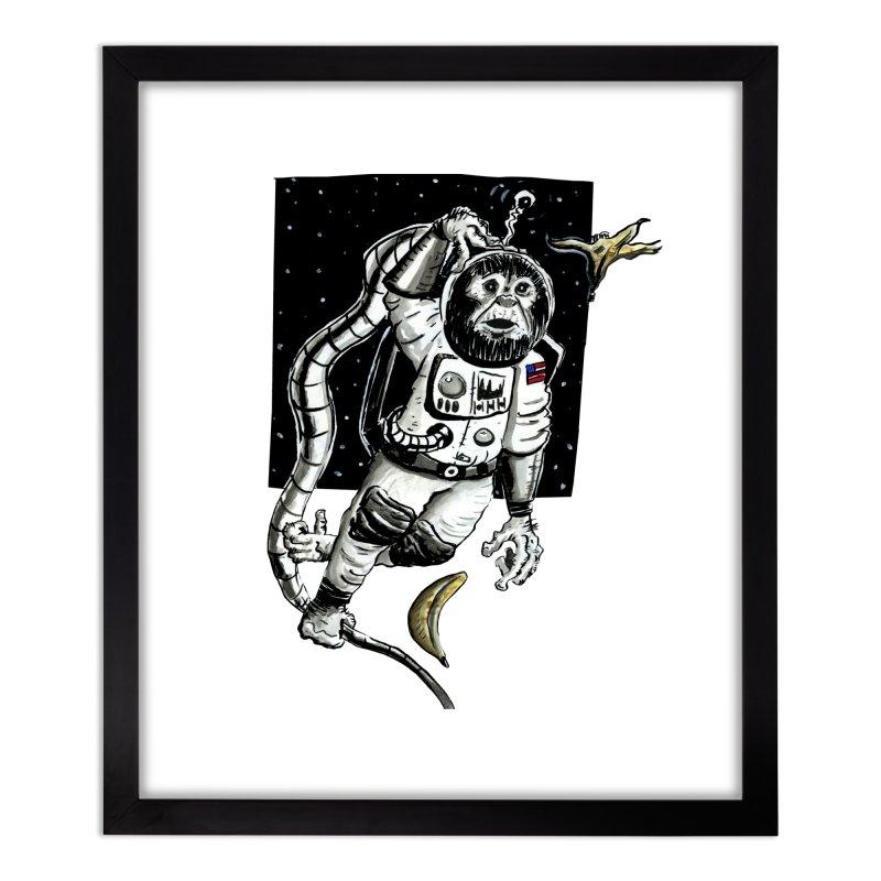 Space Chimp Home Framed Fine Art Print by tjjudgeillustration's Artist Shop