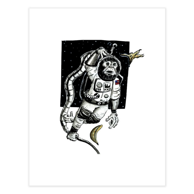 Space Chimp Home Fine Art Print by tjjudgeillustration's Artist Shop