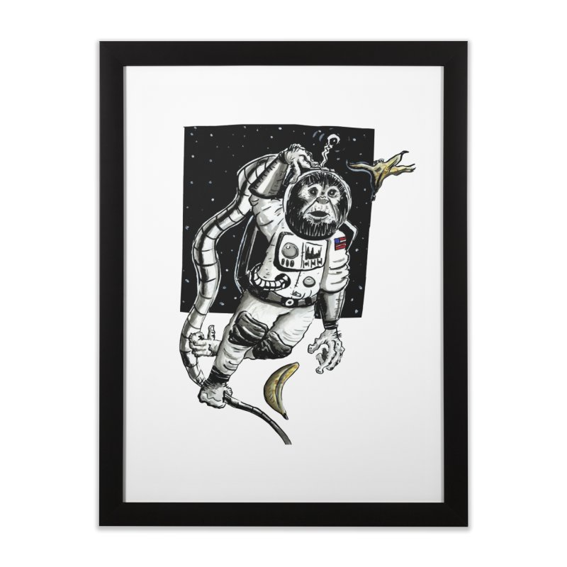 Space Chimp Home Framed Fine Art Print by tjjudgeillustration's Artist Shop