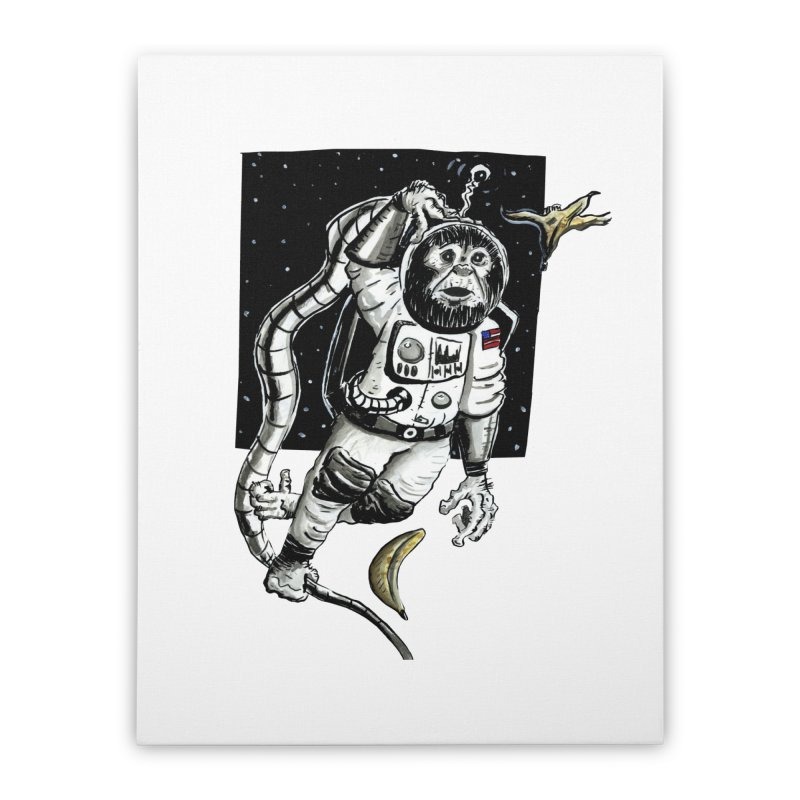 Space Chimp Home Stretched Canvas by tjjudgeillustration's Artist Shop