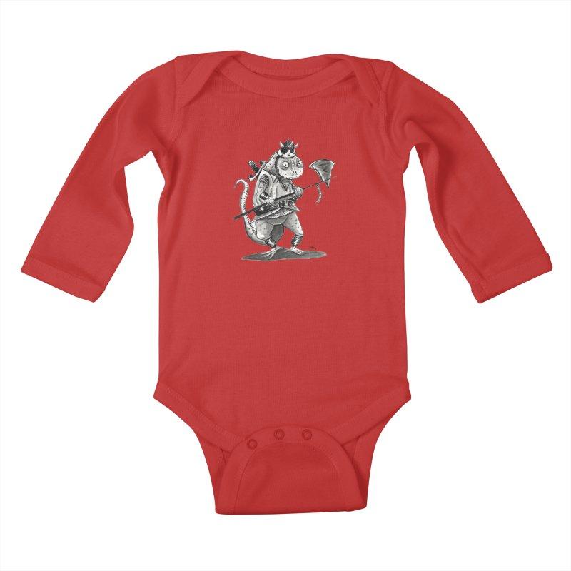 Lizard Warrior Kids Baby Longsleeve Bodysuit by tjjudgeillustration's Artist Shop