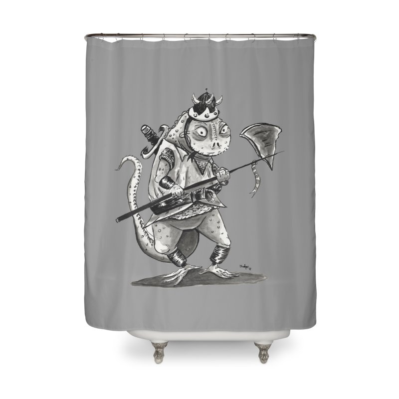 Lizard Warrior Home Shower Curtain by tjjudgeillustration's Artist Shop
