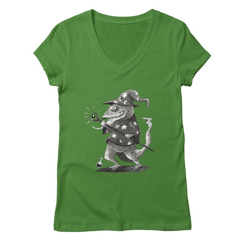Wizard Lizard Women's V-Neck by tjjudgeillustration's Artist Shop