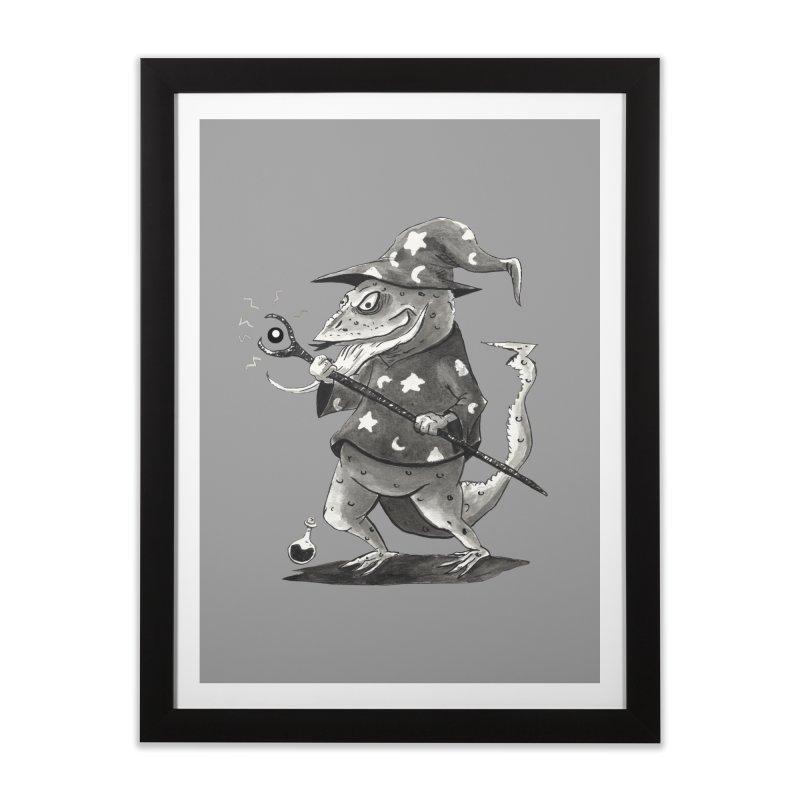 Wizard Lizard Home Framed Fine Art Print by tjjudgeillustration's Artist Shop