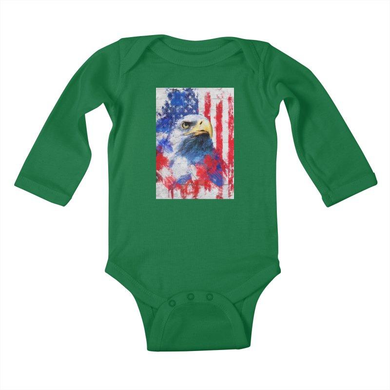 Artistic XLIII - American Pride Kids Baby Longsleeve Bodysuit by Abstract designs