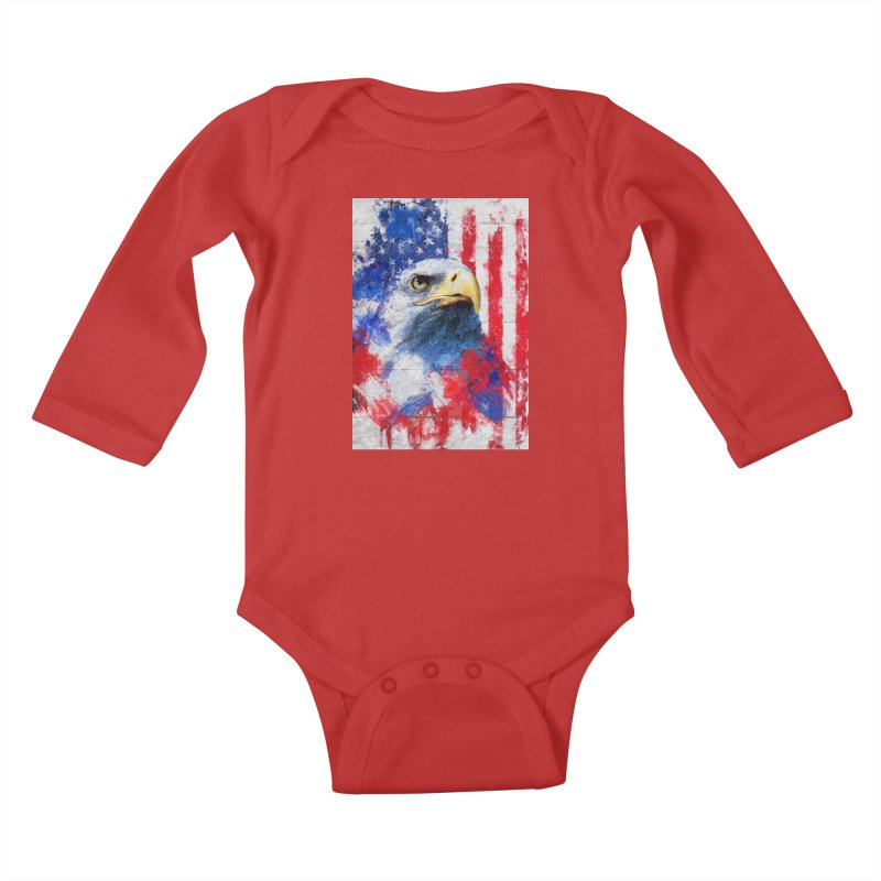 Artistic XLIII - American Pride Kids Baby Longsleeve Bodysuit by Abstract designs